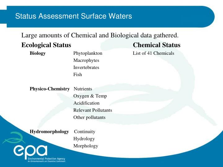 Status Assessment Surface Waters