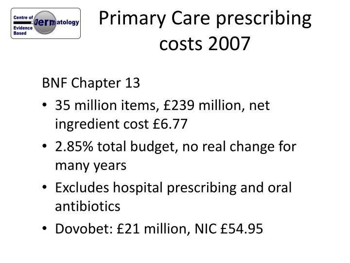 Primary Care prescribing costs 2007