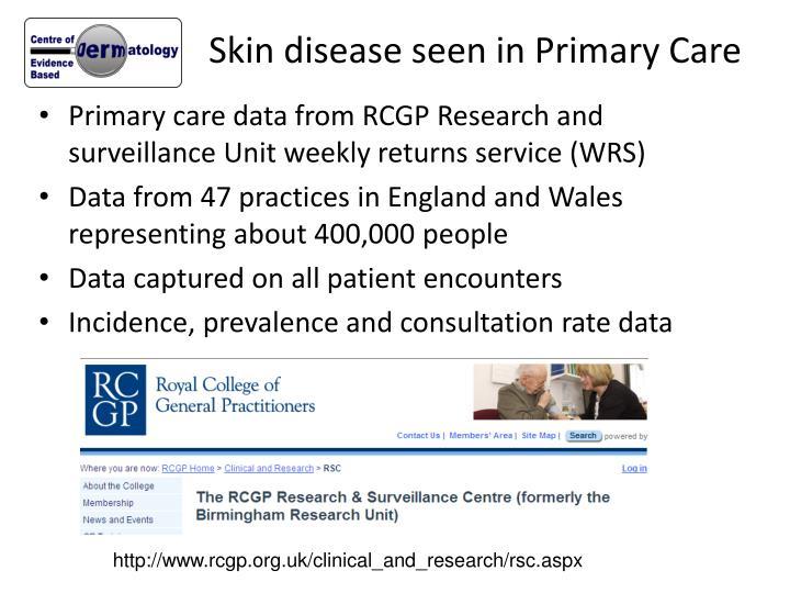 Skin disease seen in Primary Care
