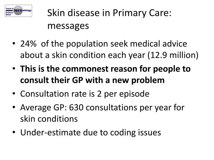 Skin disease in Primary Care: messages