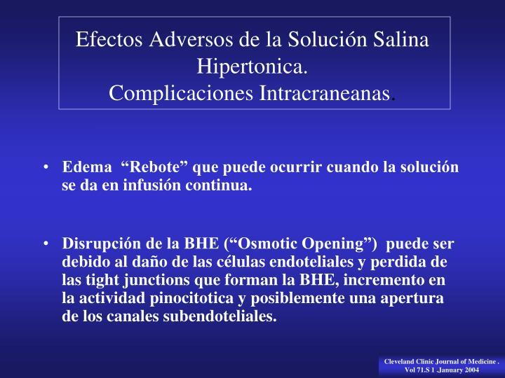 Efectos Adversos de la Solución Salina Hipertonica.