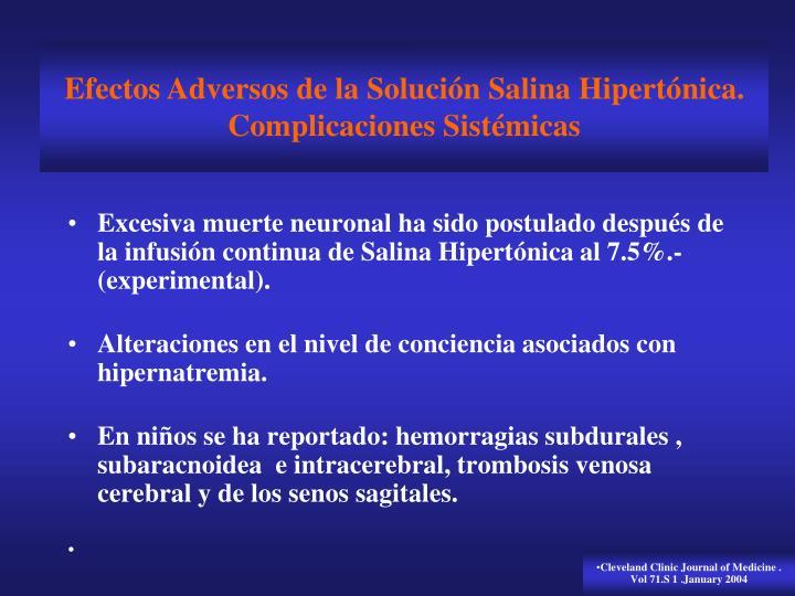 Efectos Adversos de la Solución Salina Hipertónica.