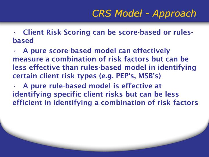 CRS Model - Approach