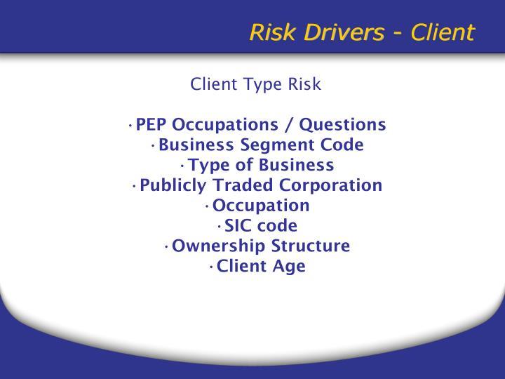 Risk Drivers - Client