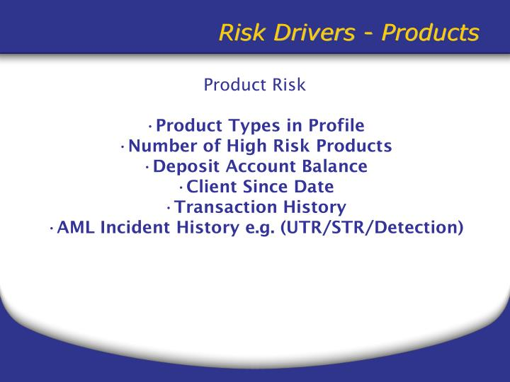 Risk Drivers - Products