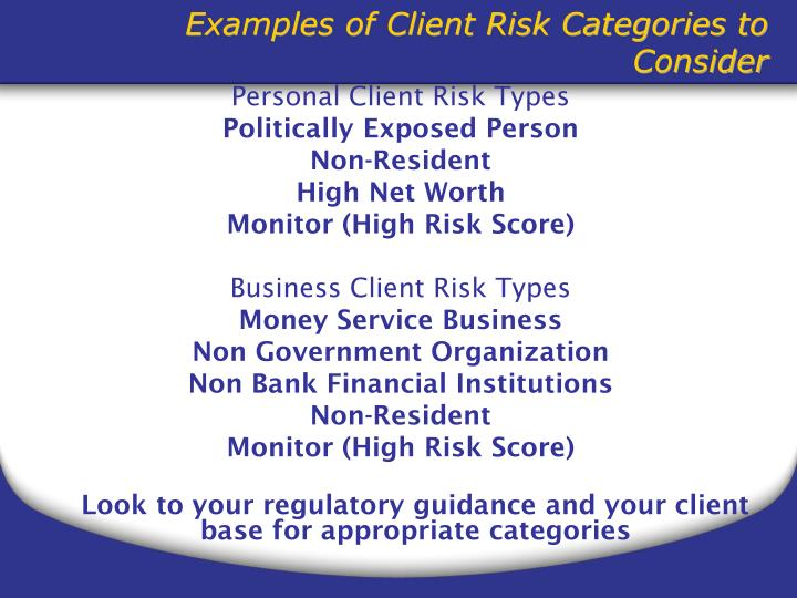Personal Client Risk Types