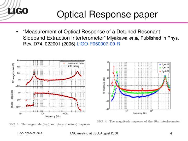 Optical Response paper