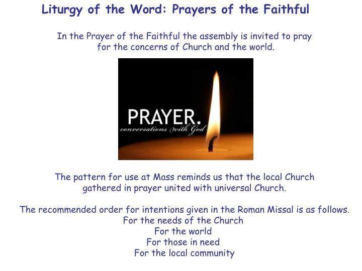Liturgy of the Word: Prayers of the Faithful