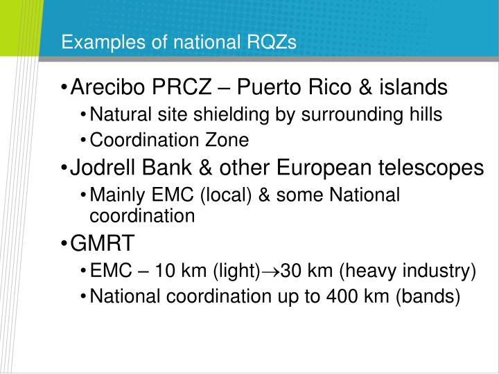 Examples of national RQZs