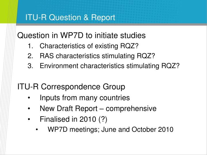 ITU-R Question & Report