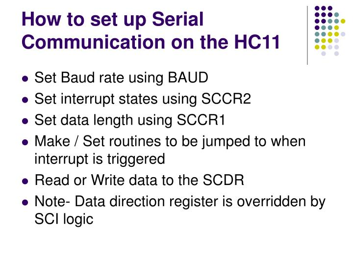 How to set up Serial Communication on the HC11