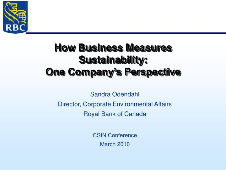 How business measures sustainability one company s perspective