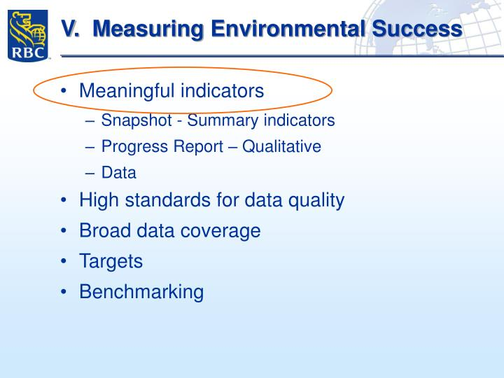 V.  Measuring Environmental Success