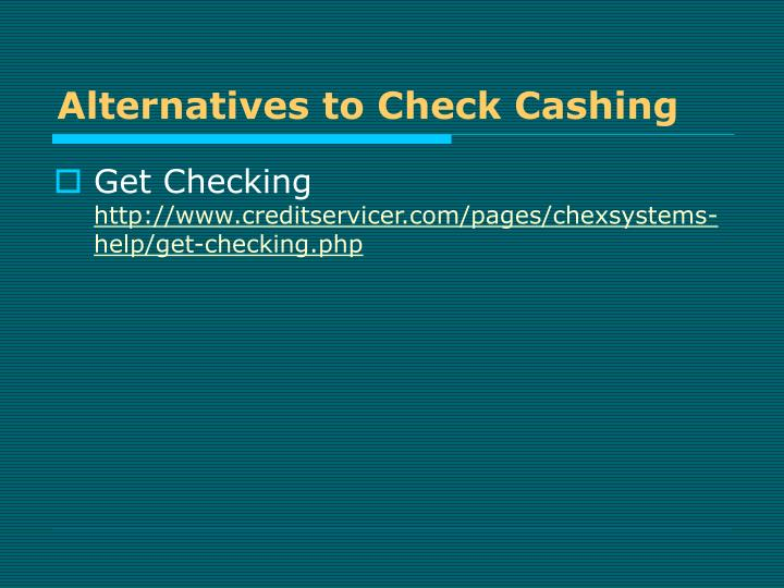 Alternatives to Check Cashing