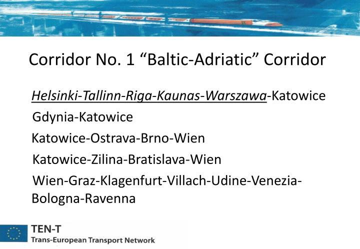 """Corridor No. 1 """"Baltic-Adriatic"""" Corridor"""