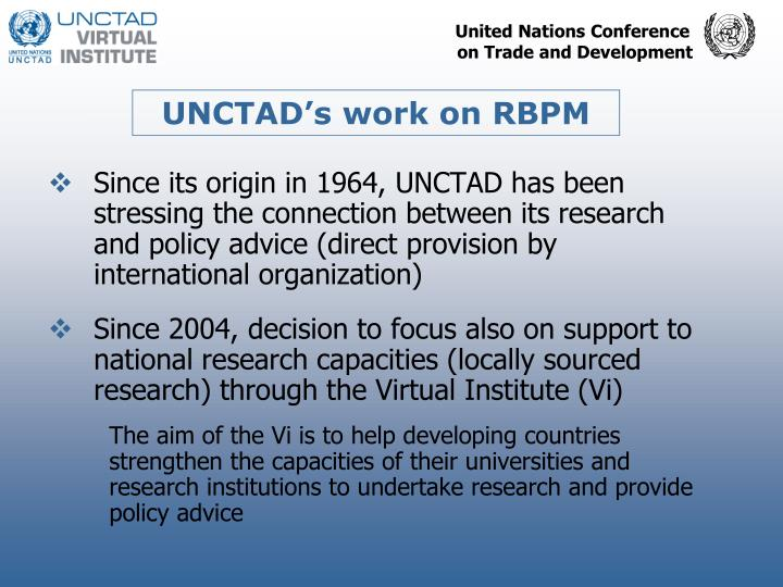 UNCTAD's work on RBPM