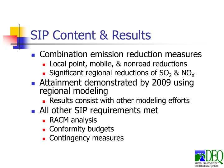 SIP Content & Results