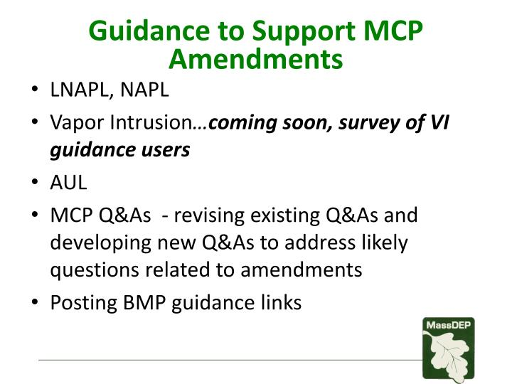 Guidance to Support MCP Amendments