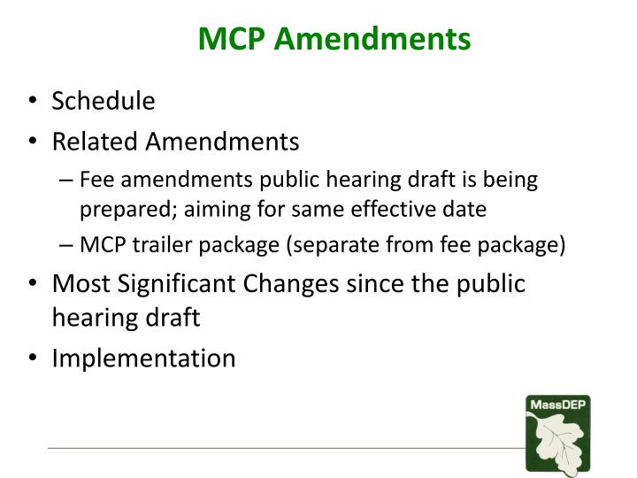 MCP Amendments