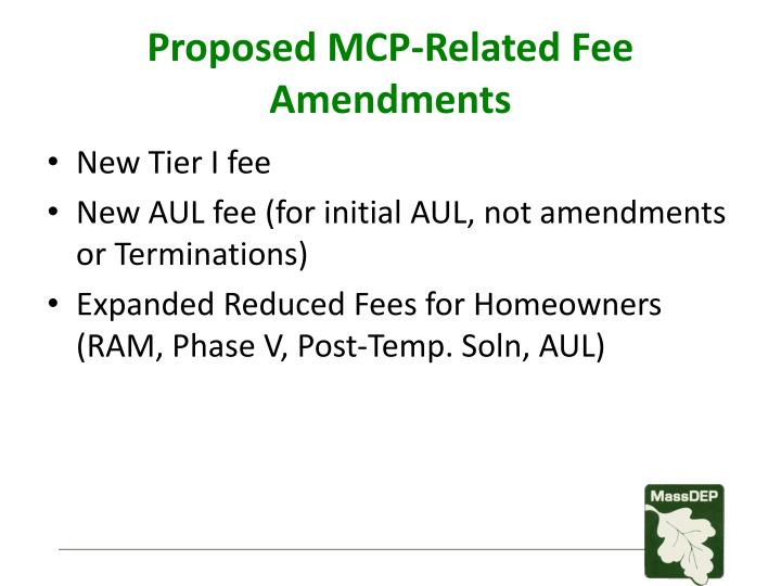 Proposed mcp related fee amendments