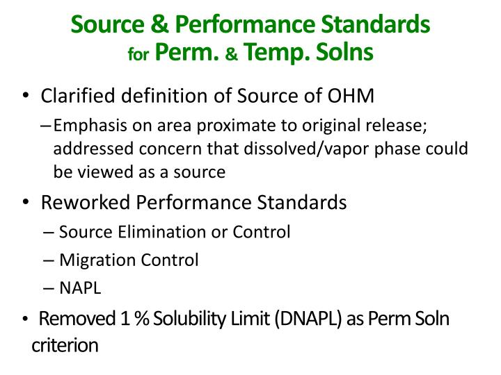 Source & Performance Standards