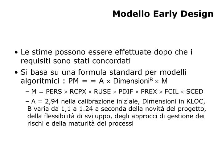 Modello Early Design