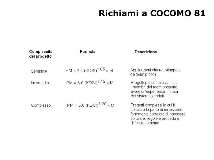 Richiami a COCOMO 81