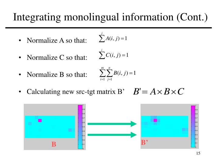 Integrating monolingual information (Cont.)