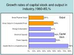 growth rates of capital stock and output in industry 1960 85