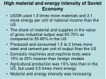 high material and energy intensity of soviet economy
