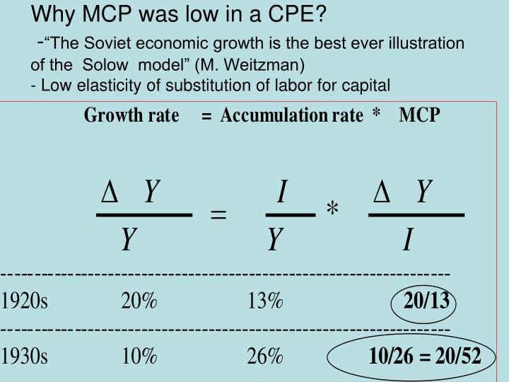 Why MCP was low in a CPE?