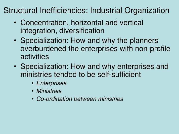 Structural Inefficiencies: Industrial Organization