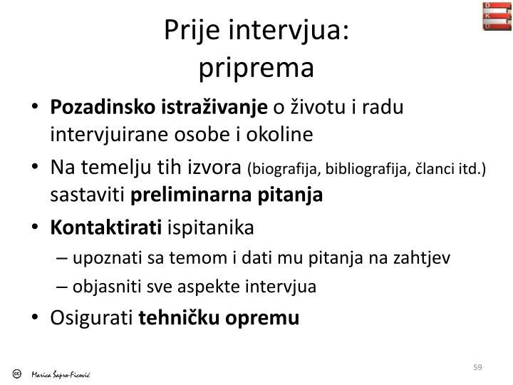 Prije intervjua
