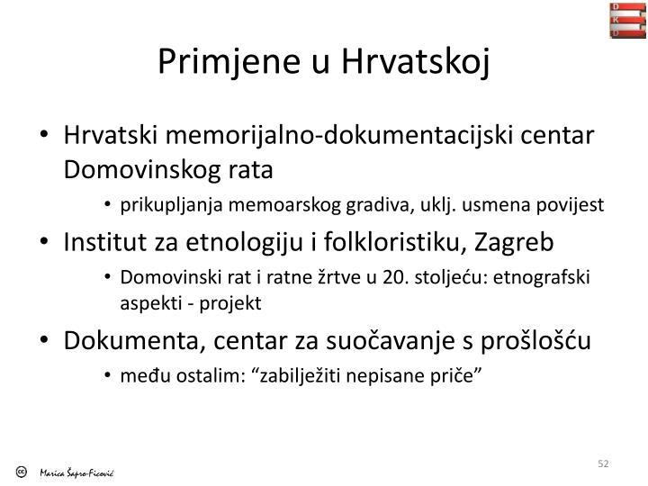 Primjene u Hrvatskoj
