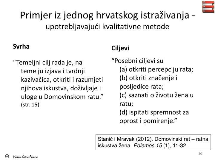 Primjer iz jednog hrvatskog istraživanja -
