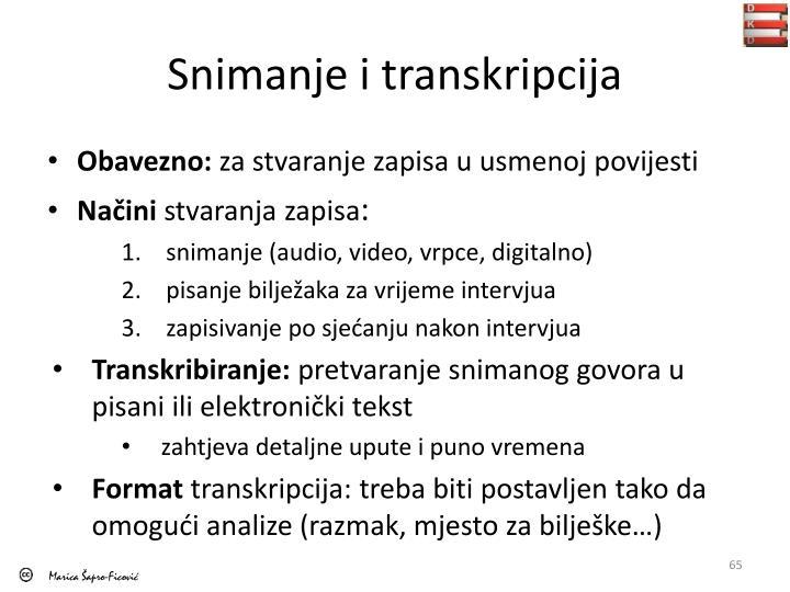 Snimanje i transkripcija