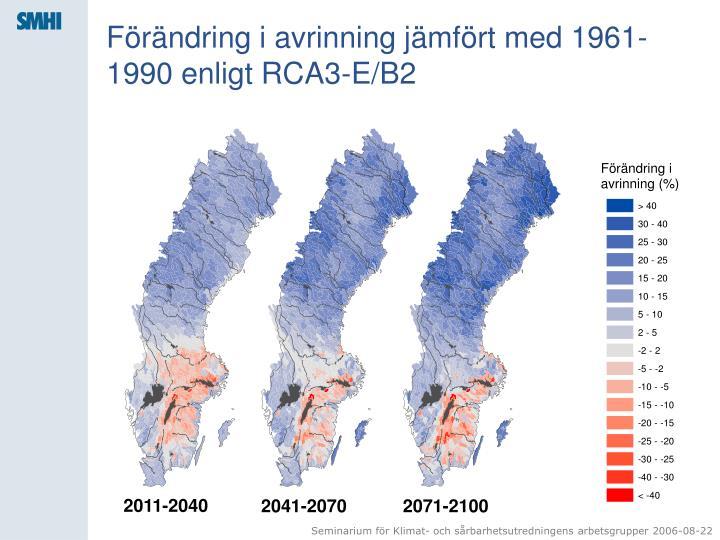 Förändring i avrinning jämfört med 1961-1990 enligt RCA3-E/B2