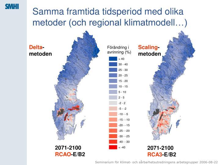 Samma framtida tidsperiod med olika metoder (och regional klimatmodell…)