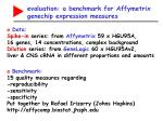 evaluation a benchmark for affymetrix genechip expression measures