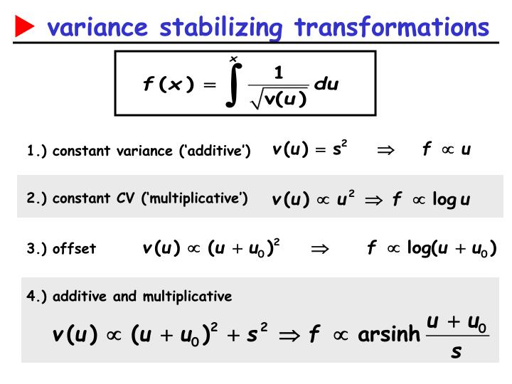 1.) constant variance ('additive')
