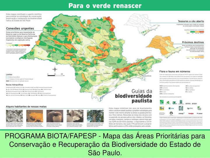 PROGRAMA BIOTA/FAPESP - Mapa das Áreas Prioritárias para Conservação e Recuperação da Biodiversidade do Estado de São Paulo.