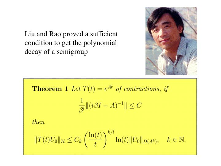 Liu and Rao proved a sufficient condition to get the polynomial decay of a semigroup