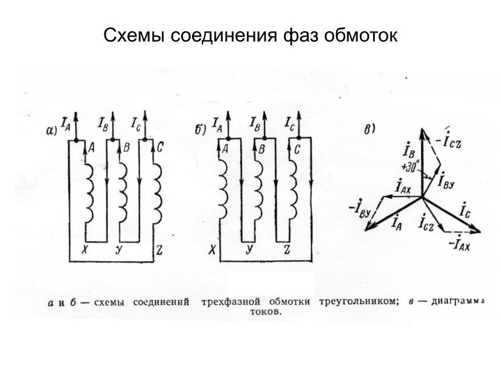 Схемы соединения фаз обмоток