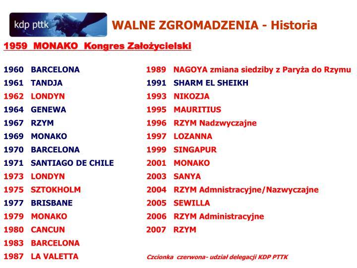 WALNE ZGROMADZENIA - Historia