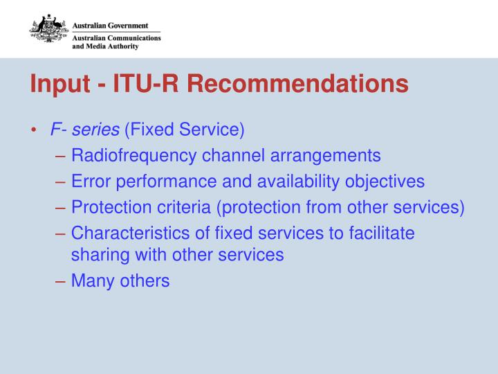 Input - ITU-R Recommendations