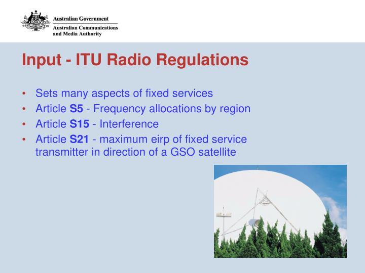 Input - ITU Radio Regulations