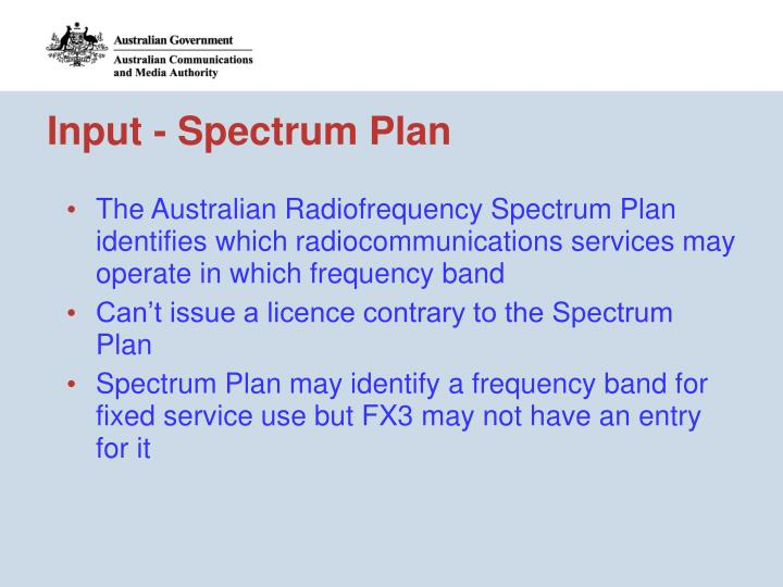 Input - Spectrum Plan