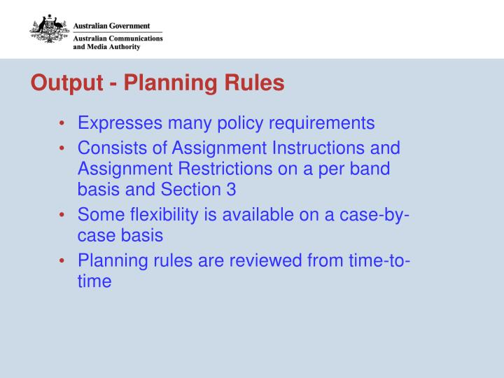 Output - Planning Rules