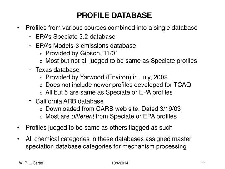 PROFILE DATABASE