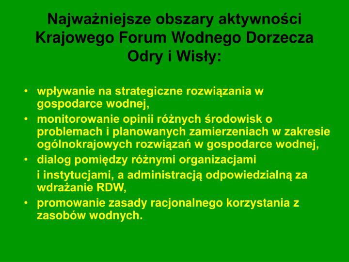 Najważniejsze obszary aktywności Krajowego Forum Wodnego Dorzecza Odry i Wisły: